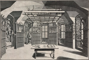 Salomon Kleiner: View into the graphical collection in the south east tower, which was established by Abbot Bessel, 1738.
